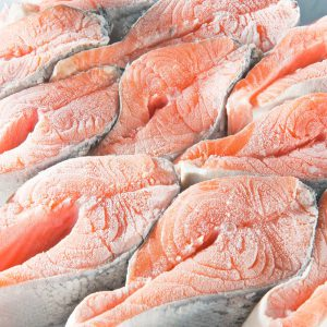 Frozen salmon fish steaks